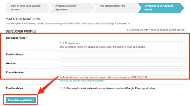 Android Developer Account Sign Up Process – Mobile Roadie